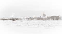 Timeless city (Suicidal_zombie) Tags: russia russie russland saint petersburg saintpetersburg stpetersburg stisaacscathedral stisaaccathedral cathedral church orthodox bridge river neva bigneva winter ice snow vapour chill cold chilling sepia winterscape city cityscape landscape snowy day light daylight frost frosty vasilievsky island weather historic classic view downtown white art old monochrome monotone beautiful explored explore