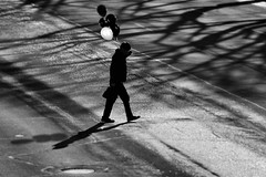 Always Late for the Party (Mister Day) Tags: noir bw blackandwhite street person baloons shadows oneman crossing road valentines