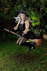 Flying on the Broom (naturalturn) Tags: jump jumping leap leaping woman witch costume broom burningsilicon siliconburners party night halloween reflectyourworld sanjose california usa image:rating=5 image:id=065574