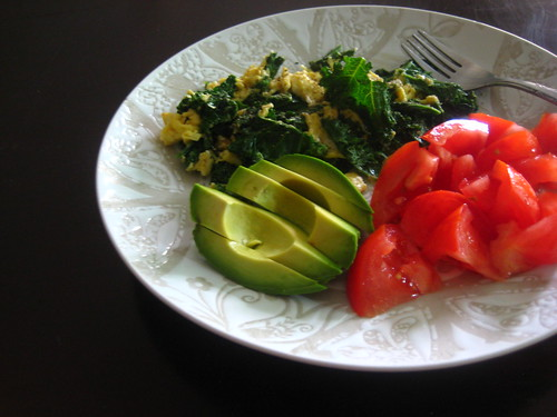 kale + eggs, tomatoes, avocado
