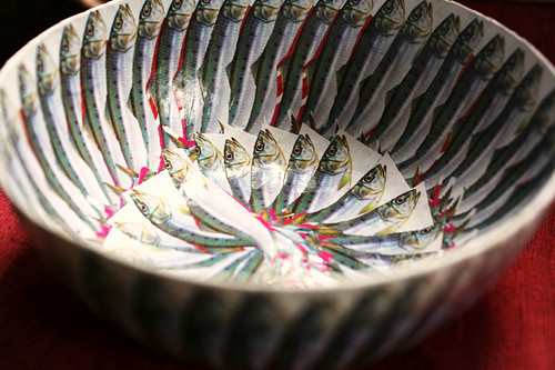 papier mache bowls. Sardines --- papier mache bowl