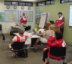 Red Cross volunteers preparing for storm.