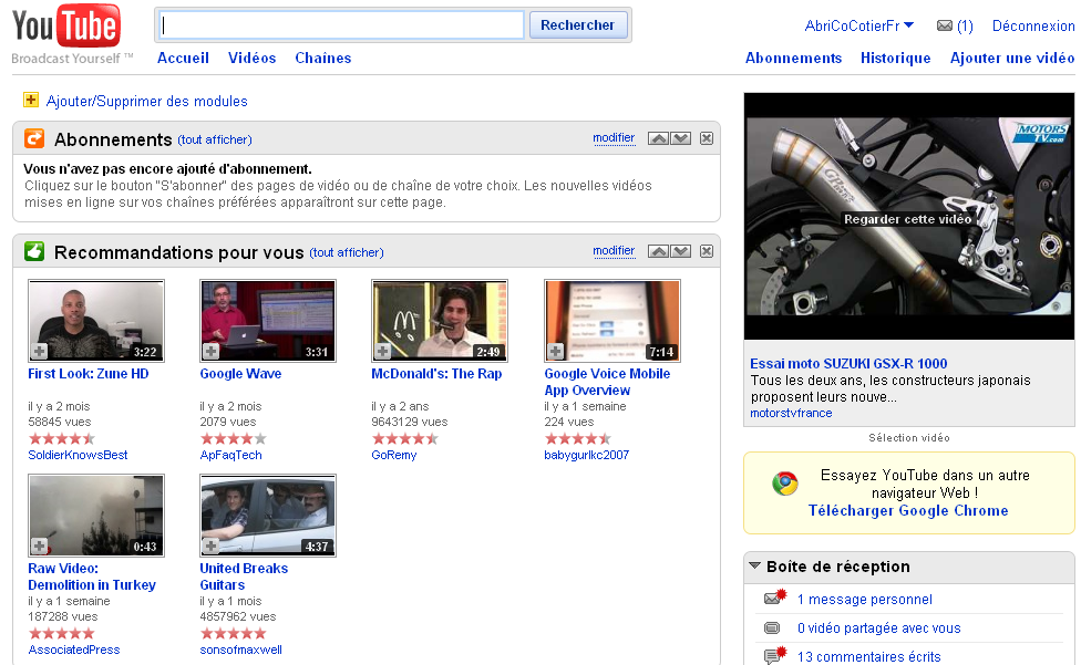 Changements Home de Youtube