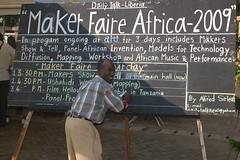 Alfred Sirleaf: the Liberian Blackboard Blogger (whiteafrican) Tags: africa analog blog mfa african ghana chalkboard maker liberia blackboard invention accra ingenuity makerfaire afrigadget makerfaireafrica mfa09