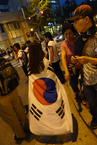 Girl wearing Korean flag