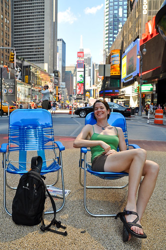 Lawn chairs in Times Square, yup.