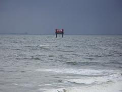 Survey rig (Nekoglyph) Tags: red industry water dark waves ship cleveland estuary rig survey teesside windfarm tees redcar jackup southgare