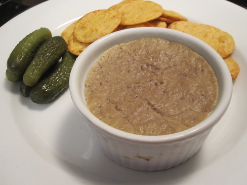 Liver mousse with crackers and cornichons