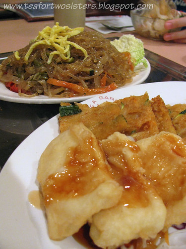 Fried tofu, pancake, chapchae