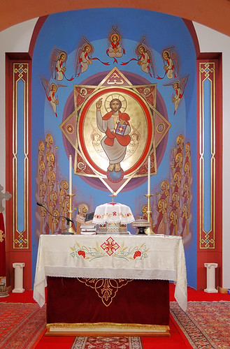 Saint Mary and Saint Abraam Coptic Orthodox Church, in Saint Louis County, Missouri, USA - high altar and apse