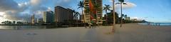Waikiki - Fort DeRussy Panorama (eschborn.photography) Tags: sunset panorama beach hawaii waikiki oahu lagoon diamondhead honolulu hiltonhawaiianvillage illikai rainbowtower eveningmood eschborn fortderussy eschbornphotography