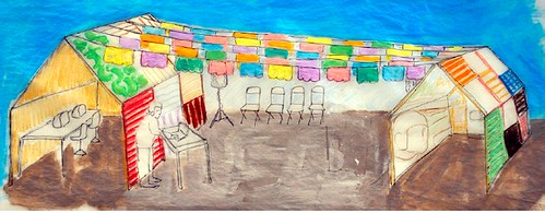 Pilar Aguero-Esparza and H. Dio Mendoza. Drawing of temporary home constructed out of recycled materials for ZER01 at the Mariachi Festival.