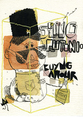 selling plutonio buyng amour (eleuro_eleuro) Tags: brown money sunglasses yellow illustration soldier russia euro happiness el violence vodka kgb plutonio illustrazione