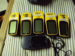 Our GPS units for geocaching at Camp Classen