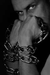 In chains (...Vincent...) Tags: portrait blackandwhite 50mm noiretblanc vincent chain depechemode dm davegahan martingore inchains soundsoftheuniverse eos400d