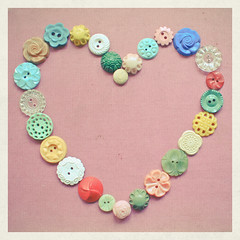 Hello Weekend! (_cassia_) Tags: pink flowers blue red white green texture love yellow pattern heart teal shapes multicoloured collection plastic transparent vintagebuttons lolasroom