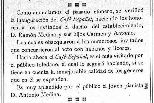 Noticia de la inauguración del café Español de Toledo en La Justicia. 27-2-09