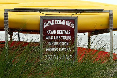 Kayak Cedar Keys Sign