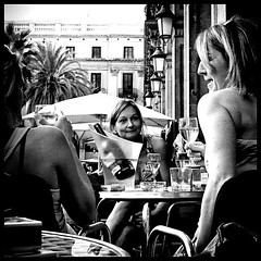 Wine (joanpetrus) Tags: barcelona street people bw woman female digital relax lumix mono restaurant blackwhite eyes women strada faces noiretblanc expression framed femme bcn bodylanguage atmosphere streetlife tourist bn personas drinks capture rue carrer rostro feelings femenino escena femenine 500x500 bwemotions bwd bwdreams leicalens streeshot lx2 artlibres bwsquare joanpetrus