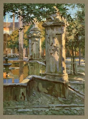 010-Fuente del patio de los Naranjos en Cordoba-An artista in Spain 1914- Michael Arthur C.
