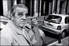 Close Up (Costas Lycavittos) Tags: street people bw closeup nikon sb600 streetphotography athens d300 monastiraki nikkor1224 blackwhitephotos costaslycavittos flashonface