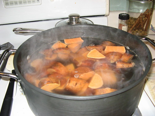 big pot of sweet potatoes