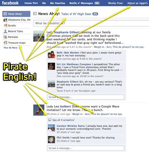 Facebook with Pirate English