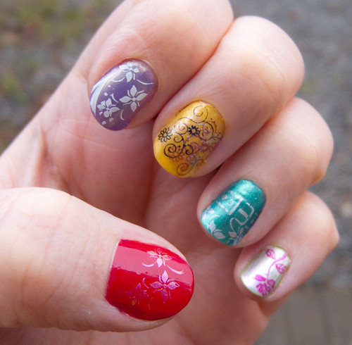 colorful nail polish design