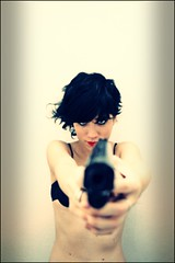 Not faking (B.e.D) Tags: woman girl work canon book bed gun image shooting solidgold desaturate hdrish nicolsfeiner
