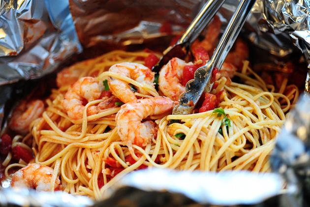 Shrimp Pasta in a Foil Package