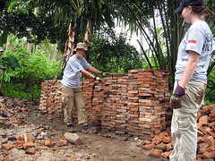 bricks salvaged by HODR volunteers from an earthquake-damaged home in West Sumatra, Indonesia,