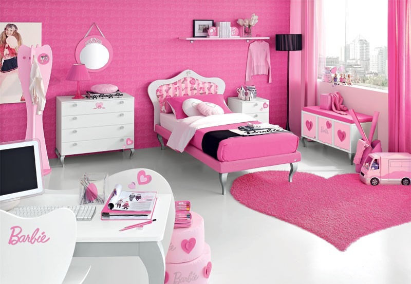 Cameretta Barbie Romantic Accessories 2 Pink Kids Bedroom Design