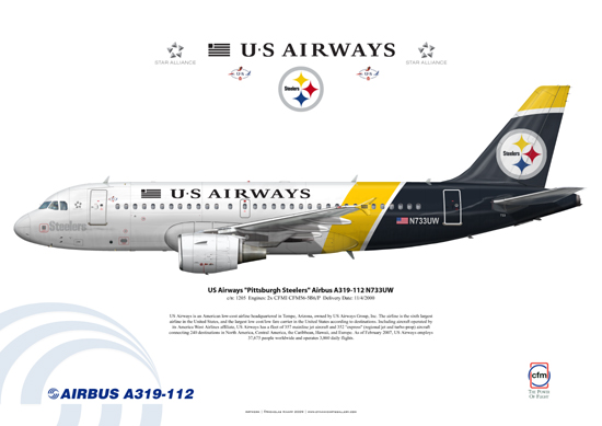 US Airways Pittsburgh Steelers Airbus A319-112 N733UW
