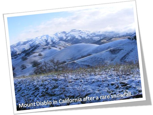 Photo of Mount Diablo in California after a rare snowfall