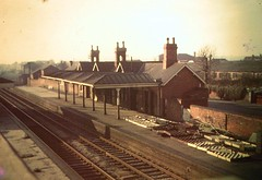Fishponds Station from road bridge, probably 1960's (emmdee) Tags: station bristol railway slide 1960s 1970s oldslides fishponds closedstation beechingaxe fishpondsstation