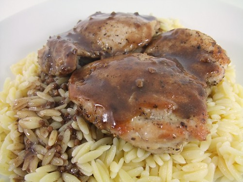 Balsamic Chicken Thighs with Orzo