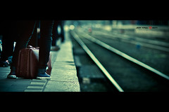 Hear my train comin' (Jeff Krol) Tags: suitcase train rails rail shoes station depth dof bokeh cinematic street utrecht utrechtcs netherlands 135mm smcpentax135mmf25 pentax pentaxsmc jeffkrol city