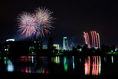 omaha welcomes CWS fans (laughlinc) Tags: city urban reflection water skyline night nebraska fireworks unionpacific omaha gallup openingceremony collegeworldseries firstnationaltower nikond80 61711 thechallengefactory laughlinc tdameritradepark colleenlaughlin june172011