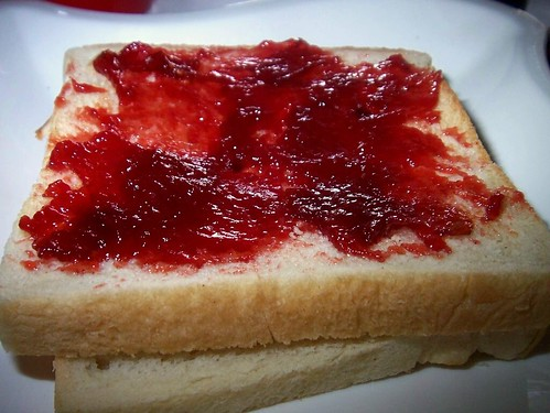 Plum jam and bread