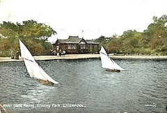 1917 postcard model yacht racing Stanley Park Liverpool England (oldsailro) Tags: park old boy sea summer england people sun lake playing beach water pool girl sunshine youth sailboat race liverpool vintage children fun toy boat miniature wooden pond model waves sailing ship child time yacht antique group boom mat stanley regatta hull spectators watercraft adolescence keel fashioned parek