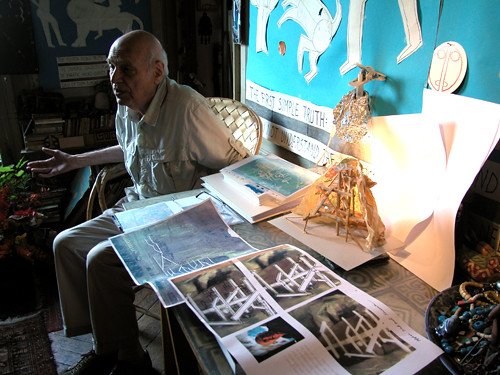Friedman with designs for the musuem. (Courtesy Association Afghanculture)