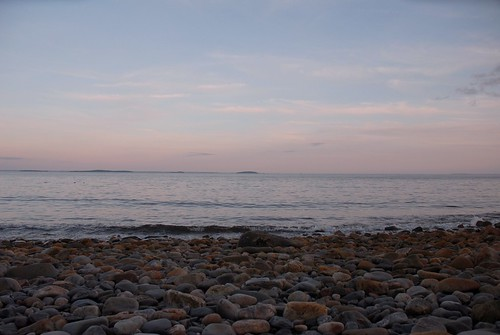 Sunset at beach in Camden, Maine