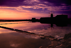 Sunset On The Salt Mines (Fabio Montalto) Tags: sunset italy windmill silhouette reflections landscape photography photos sicily saline nubia trapani marsala saltmines saltmarshes nikond200 nikfilters saltevaporationpond colorefexpro30 alemdagqualityonlyclub nikon1685 capturenx2 wagman30