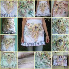 Flight of Fancy Art Apron (HollyLovesArt) Tags: art vintage mixed media handmade pastel apron stitching ribbon hanky hankies