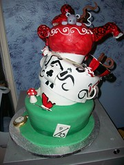 Alice in Wonderland Bridal Shower Cake (Sugar Mama NYC) Tags: new york nyc cake shower designer alice treats michelle mama sugar desserts novelty mad bridal wonderland sculpted hatter specialty fondant duquesnay sugarmamatreatscom