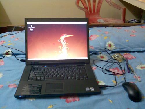 Laptop of Hari K T loaded with Ubuntu