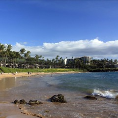 A typical beach scene in South Maui, just about any day of the year.