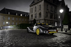 Aero 8 - Montmartre (Amaury AML) Tags: auto street light black paris france reflection art cars car sport yellow night speed matt photo wheels 8 automotive montmartre voiture cobble exotic bmw morgan rue supercar v8 aero exotics supercars roadster amaury aml