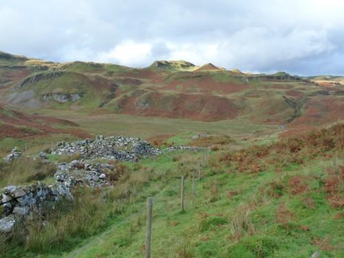 Kilmelford Hill Lochs settlement, looking to Loch Feinn cliffs.Copyright Brian Turner