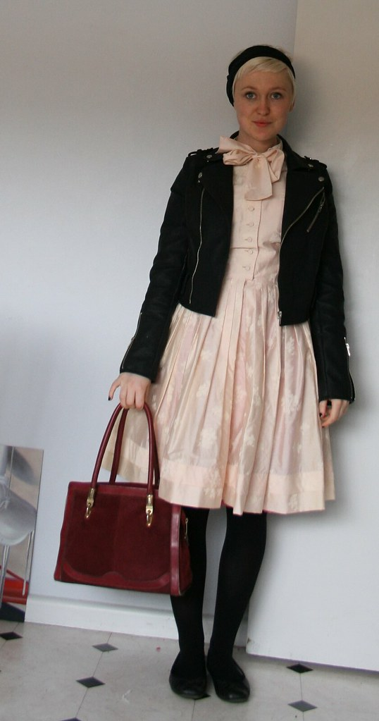 pink l'aiglon dress + biker